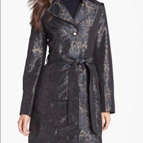 c25da29725e Ellen Tracy Belted Leopard Print Raincoat